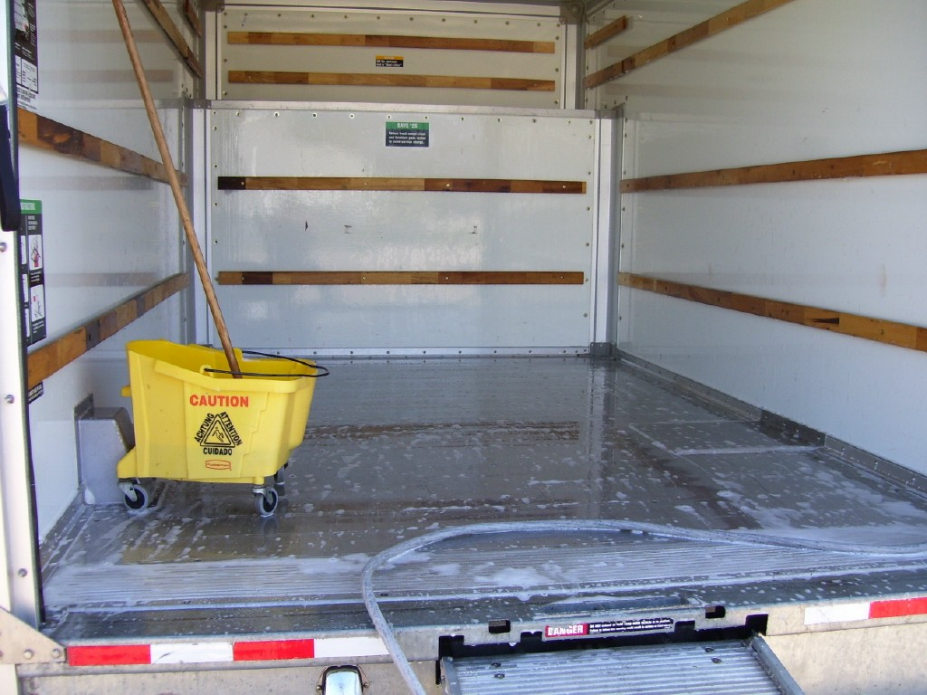 Every truck box is scrubbed clean.